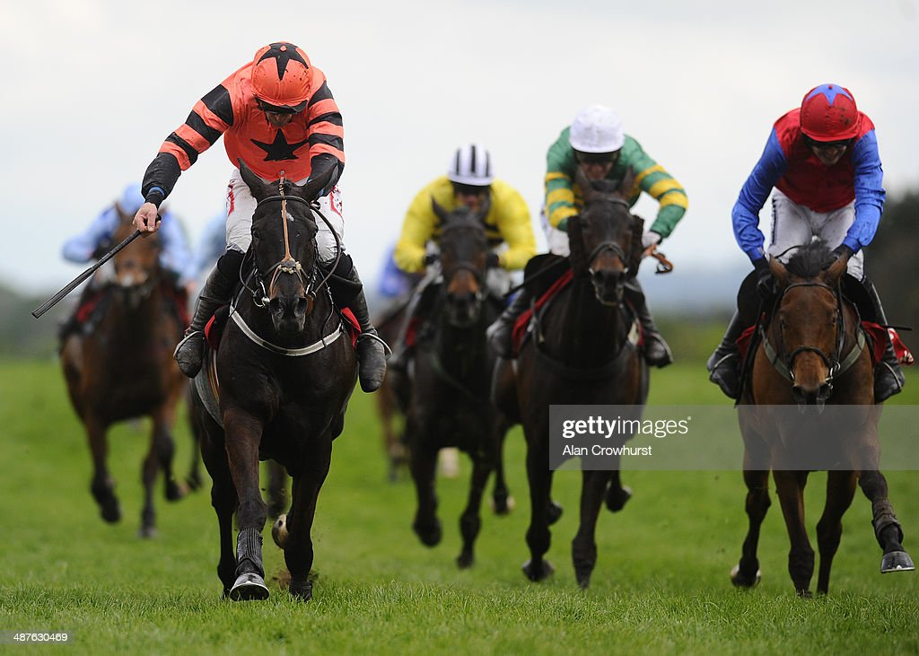 Davy Russell riding Jetson (L) win The Ladbrokes World Series Hurdle from Quevega (R) at Punchestown racecourse on May 01, 2014 in Naas, Ireland.