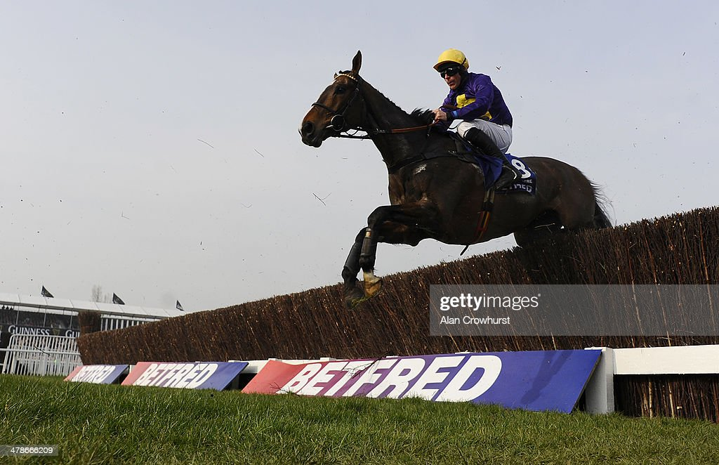 Davy Russell riding Lord Windermere clear an early fence before going on to win The Betfred Cheltenham Gold Cup Steeple Chase during Cheltenham Gold Cup day at the Cheltenham Festival at Cheltenham racecourse on March 14, 2014 in Cheltenham, England.