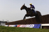 Davy Russell riding Lord Windermere clear an early fence before going on to win The Betfred Cheltenham Gold Cup Steeple Chase during Cheltenham Gold...