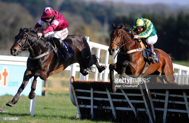 Davy Russell riding Un Atout clear the last to win The Tattersalls Ireland Champion Novice Hurdle from Ubak at Punchestown racecourse on April 26...