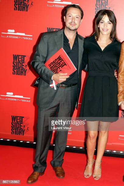 Davy Sardou and his wife Noemie Elbaz attend 'West Side Story' at La Seine Musicale on October 16 2017 in BoulogneBillancourt France