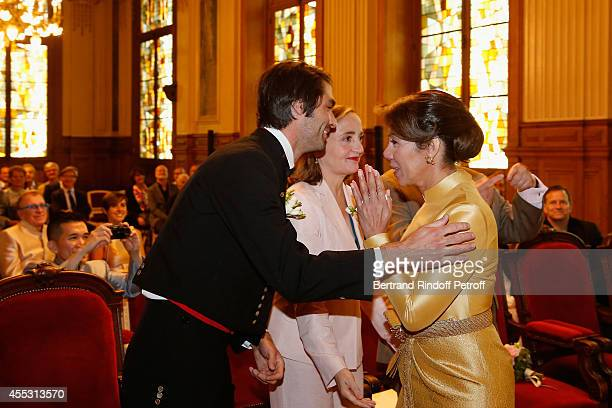 Davy Vette Dominique Blanc and Kanee Danevong attend the Wedding of Francois Florent And Kanee Danevong at Mairie Du XVIII on September 12 2014 in...