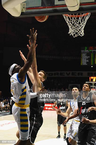 Dawan Robinson of Tezenis competes with Gabriele Spizzichini of Segafredo during the match of LNP LegaBasket Serie A2 between Virtus Segafredo...