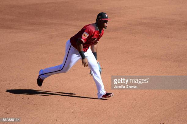 Dawel Lugo of the Arizona Diamondbacks in action against the Colorado Rockies during the spring training game at Salt River Fields at Talking Stick...