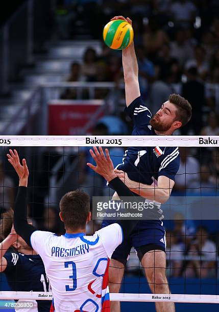 Dawid Dryja of Poland scores a point during the Men's Volleyball quarter final match against Slovakia on day twelve of the Baku 2015 European Games...