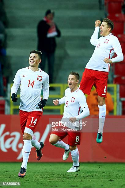 Dawid Kownacki from Poland celebrates with team mates after scoring during the International Friendly soccer match between Poland U21 and Germany U21...