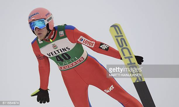 Dawid Kubacki of Poland competes during the normal hill HS100 competition of the FIS Ski Jumping World Cup in Lahti Finland on February 21 2016 Due...