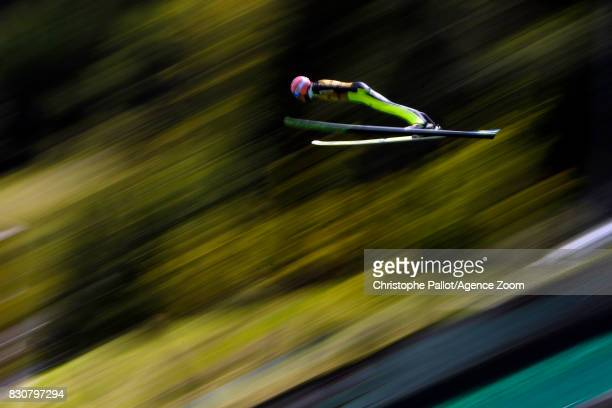 Dawid Kubacki of Poland takes 1st place during the Men's HS 132 at the FIS Grand Prix Ski Jumping on August 12 2017 in Courchevel France