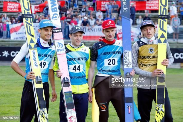 Dawid Kubacki of Poland takes 1st place Kot Maciej of Poland takes 2nd place Roman Koudelka of Czech Republic takes 3rd place Denis Kornilov of...