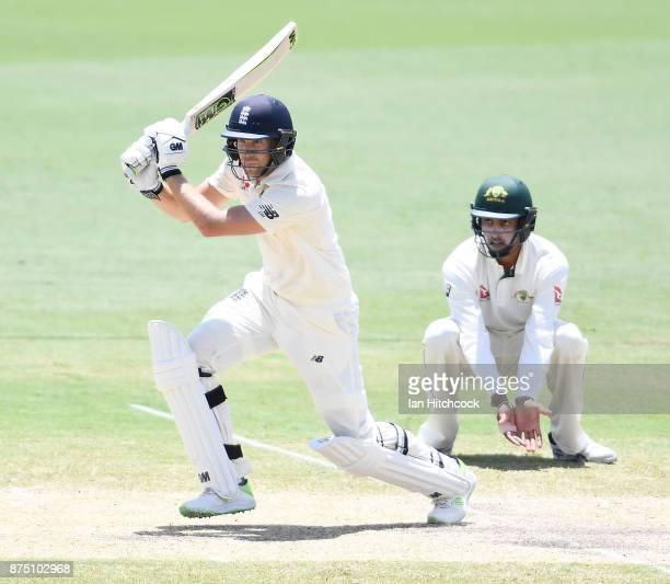 Dawid Malan of England bats on day 3 of the four day tour match between Cricket Australia XI and England at Tony Ireland Stadium on November 17 2017...