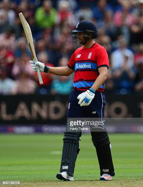 Dawid Malan of England celebrates his half century during the 3rd NatWest T20 International between England and South Africa at the SWALEC Stadium on...