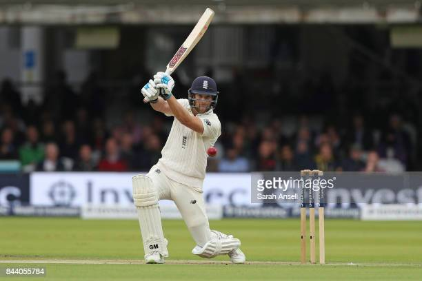 Dawid Malan of England hits a boundary during day two of the 3rd Investec Test match between England and West Indies at Lord's Cricket Ground on...