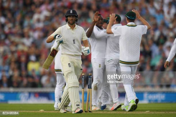 Dawid Malan of England is bowled by Kagiso Rabada of South Africa during Day One of the 3rd Investec Test between England and South Africa at The Kia...