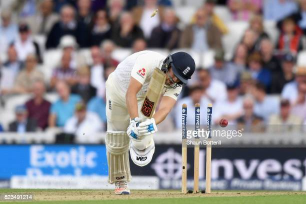 Dawid Malan of England is bowled out by Kagiso Rabada of South Africa during Day One of the 3rd Investec Test match between England and South Africa...