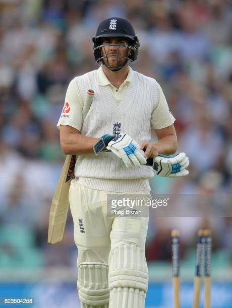 Dawid Malan of England leaves the field after being bowled by Kagiso Rabada during the first day of the 3rd Investec Test match between England and...