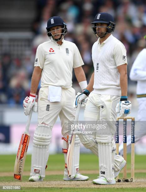 Dawid Malan of England leaves the field after being dismissed by Keshav Maharaj of South Africa during day three of the 4th Investec Test match...