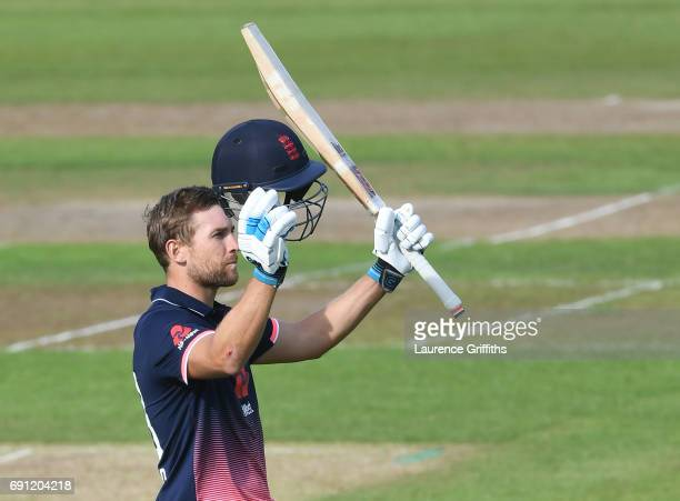 Dawid Malan of England Lions celebrates his century during the One Day International match between England Lions and SouthAfrica A at Trent Bridge on...