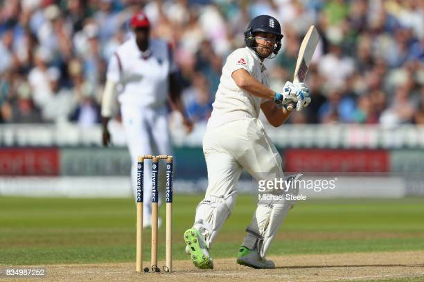 Dawid Malan of England plays to the fine leg boundary during day two of the 1st Investec Test match between England and West Indies at Edgbaston on...