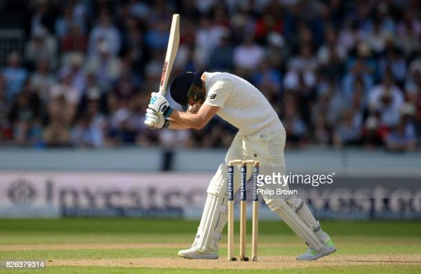 Dawid Malan of England reacts after being dismissed during the 4th Investec Test match between England and South Africa at Old Trafford cricket...