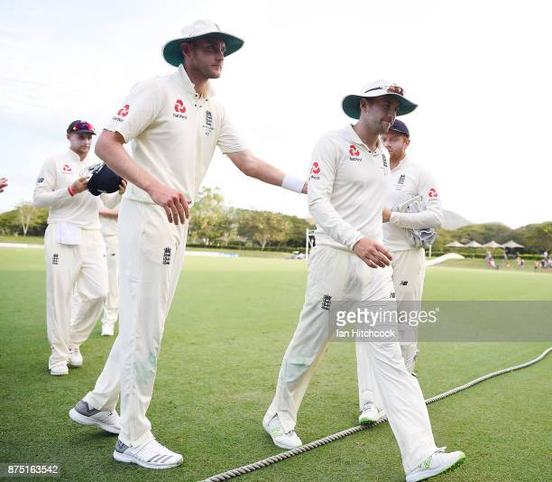 Dawid Malan of England walks off the field first at the end of day 3 of the four day tour match between Cricket Australia XI and England at Tony...