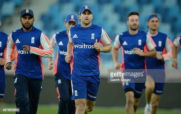 Dawid Malan of England warms up ahead of a nets session at Dubai Cricket Stadium on November 19 2015 in Dubai United Arab Emirates