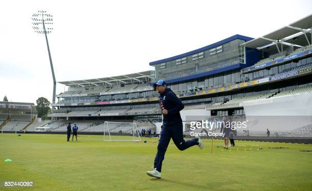 Dawid Malan of England warms up during a nets session at Edgbaston on August 16 2017 in Birmingham England