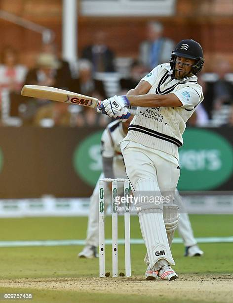 Dawid Malan of Middlesex bats during day three of the Specsavers County Championship Division One match between Middlesex and Yorkshire at Lords on...