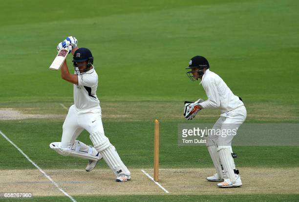 Dawid Malan of Middlesex bats during day two of the Champion County match between Marylebone Cricket Club and Middlesex at Sheikh Zayed stadium on...