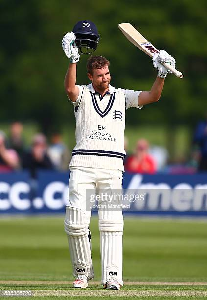 Dawid Malan of Middlesex celebrates his century during day one of the Specsavers County Championship Division One match between Middlesex and...