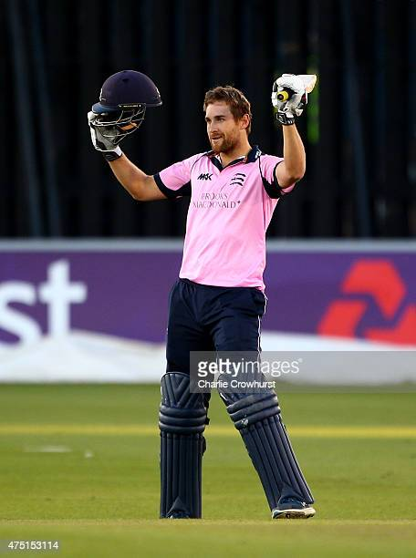 Dawid Malan of Middlesex celebrates his century during the Natwest T20 Blast match between Sussex and Middlesex at The BrightonandHoveJobscom County...
