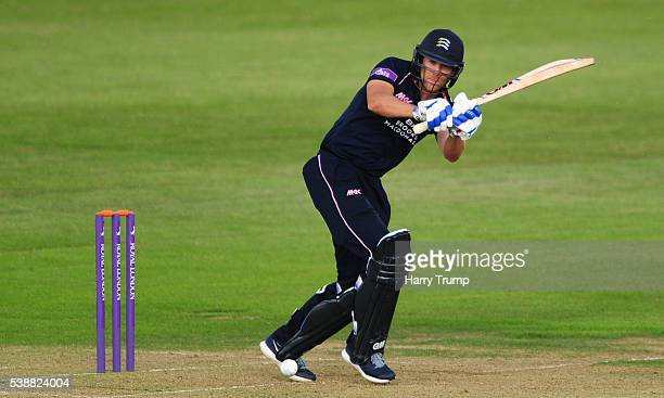 Dawid Malan of Middlesex flicks the ball during the Royal London One Day Cup match between Gloucestershire and Middlesex at the Brightside Ground on...