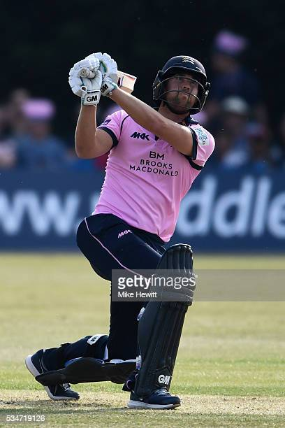 Dawid Malan of Middlesex hits a huge 6 during the NatWest T20 Blast between Middlesex and Hampshire at the Uckfield Sports Ground on May 27 2016 in...