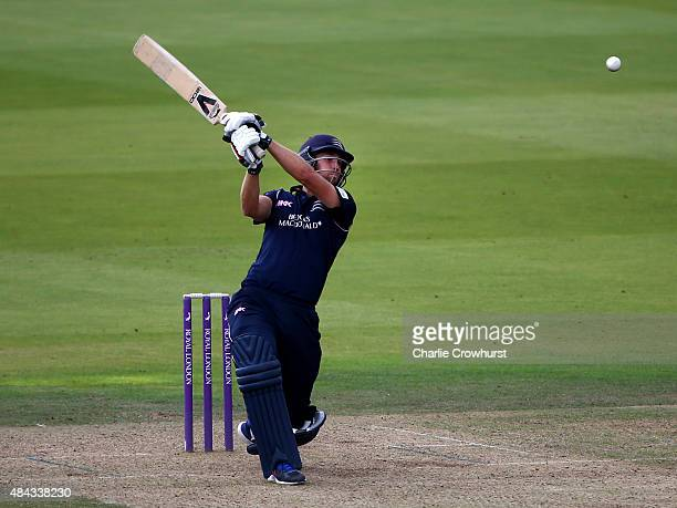 Dawid Malan of Middlesex hits out during the Royal London OneDay Cup match between Middlesex and Glamorgan at Lord's Cricket Ground on August 17 2015...