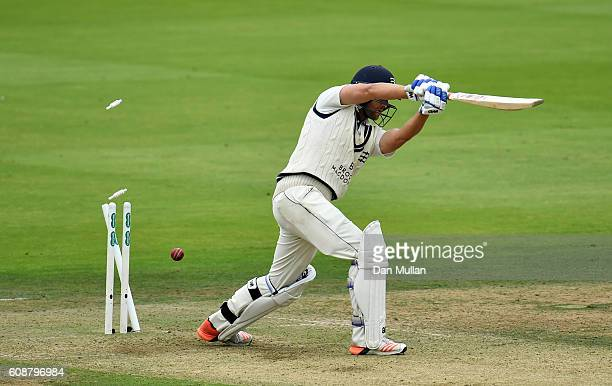 Dawid Malan of Middlesex is bowled by David Willey of Yorkshire during day one of the Specsavers County Championship Division One match between...