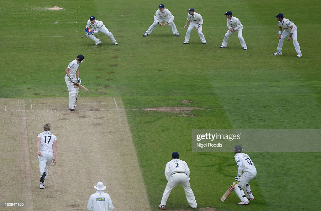 Dawid Malan (2nd L) of Middlesex is caught by Johnny Bairstow (3rd L) off the bowling of Steve Patterson during day two of the LV County Championship Division One match between Yorkshire and Middlesex at Headingley Stadium on September 18, 2013 in Leeds, England.