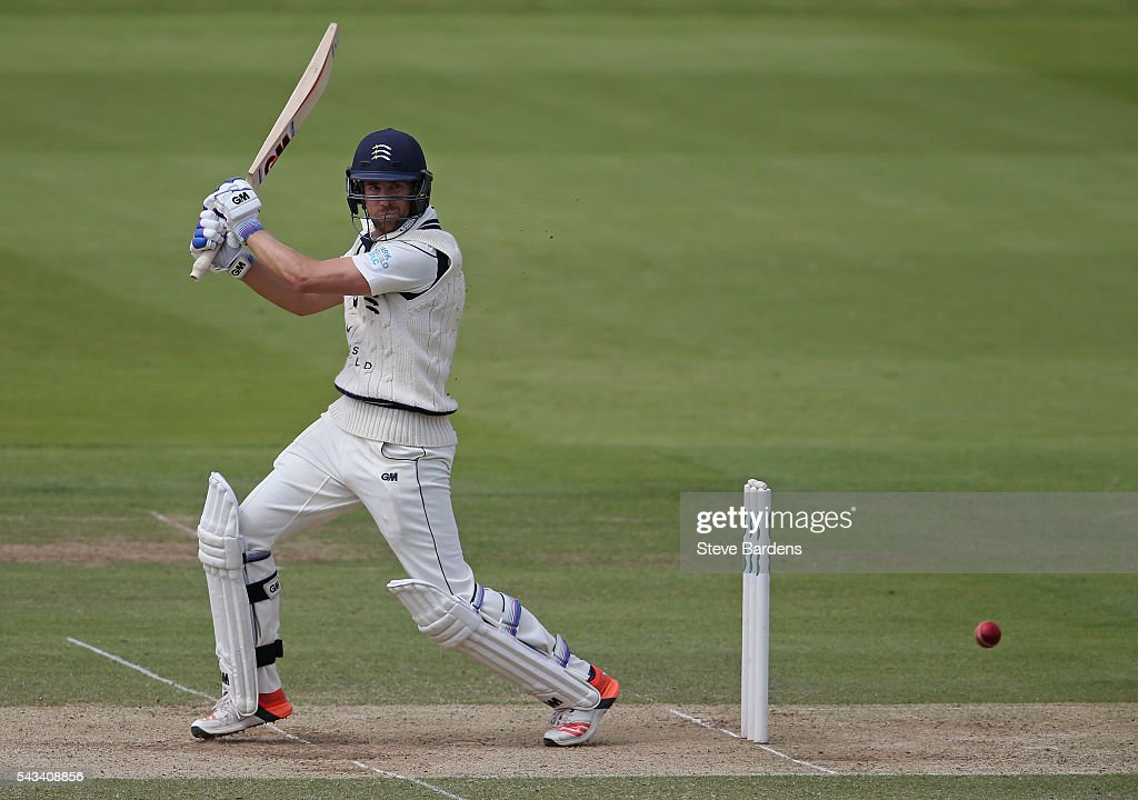 <a gi-track='captionPersonalityLinkClicked' href=/galleries/search?phrase=Dawid+Malan&family=editorial&specificpeople=4250352 ng-click='$event.stopPropagation()'>Dawid Malan</a> of Middlesex plays a shot during day three of the Specsavers County Championship division one match between Middlesex and Lancashire at Lords on June 28, 2016 in London, England.