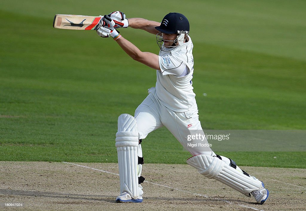 Dawid Malan of Middlesex plays a shot during day two of the LV County Championship Division One match between Yorkshire and Middlesex at Headingley Stadium on September 18, 2013 in Leeds, England.