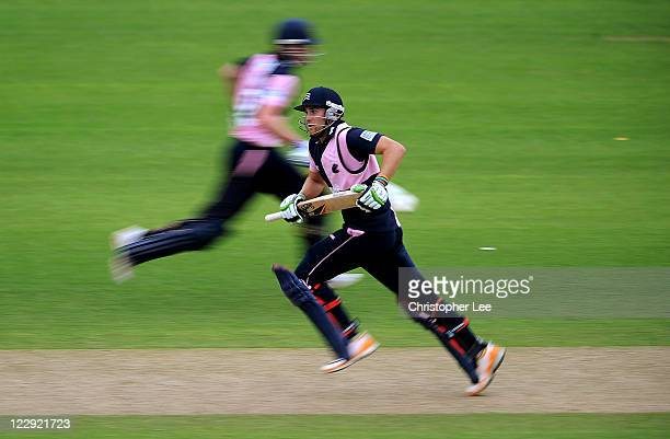 Dawid Malan of Middlesex runs between the stumps during the Clydesdale Bank 40 match between Middlesex and Sussex at Lords on August 29 2011 in...