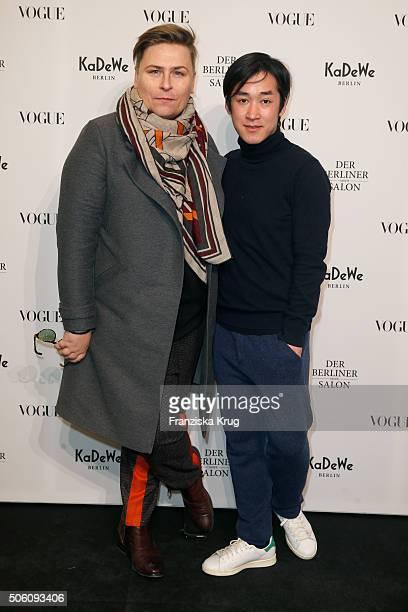 Dawid Tomaszewski and Hien Le attend 'Der Berliner Mode Salon' Pop Up Shop Cocktail as part of Der Berliner Mode Salon during the MercedesBenz...