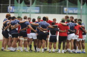 D' OLONNE FRANCE JUNE 12 Dawie Theron Head Coach talks to his team as they huddle during the South African U/20 captains run at Stade de la Rudelière...