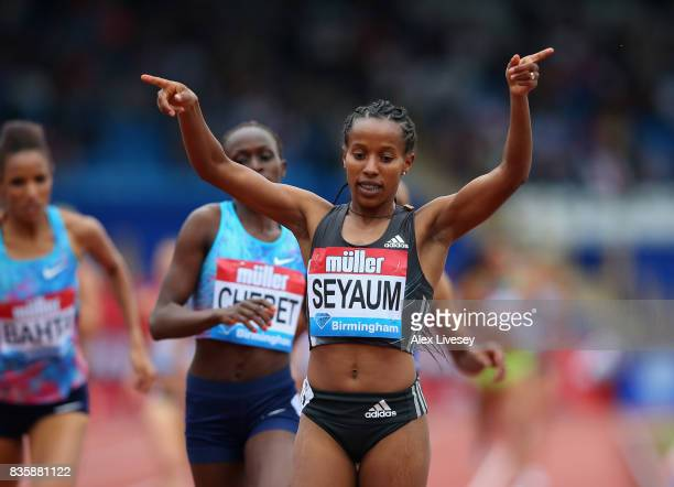 Dawit Seyaum of Ethiopia wins the Women's 1500m race during the Muller Grand Prix Birmingham meeting at Alexander Stadium on August 20 2017 in...