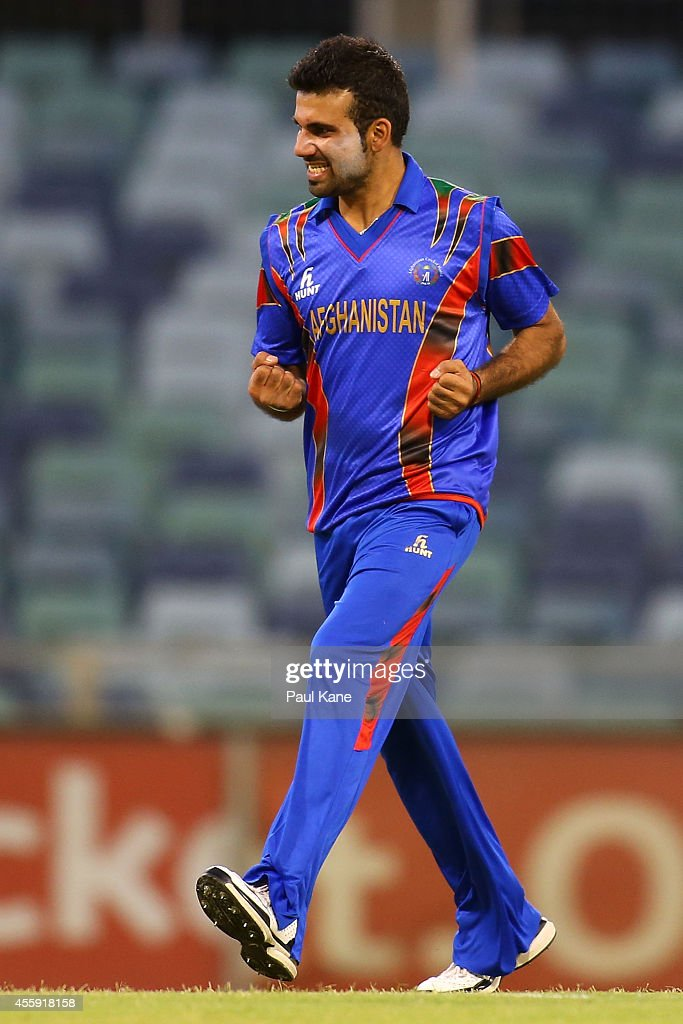 Dawlat Khan of Afghanistan celebrates after dismissing Luke Towers of the WA XI during the One Day tour match between the Western Australia XI and Afghanistan at the WACA on September 22, 2014 in Perth, Australia.