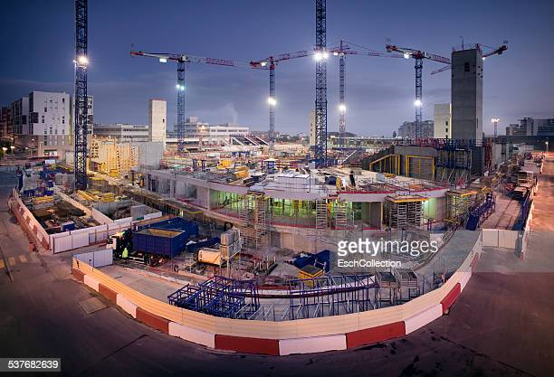 Dawn at construction site of new stadium in Paris