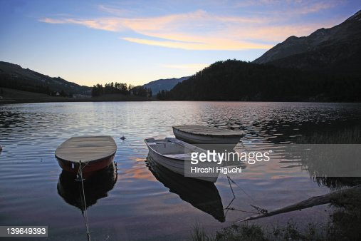 Dawn at Lake Champfèr : Stock Photo