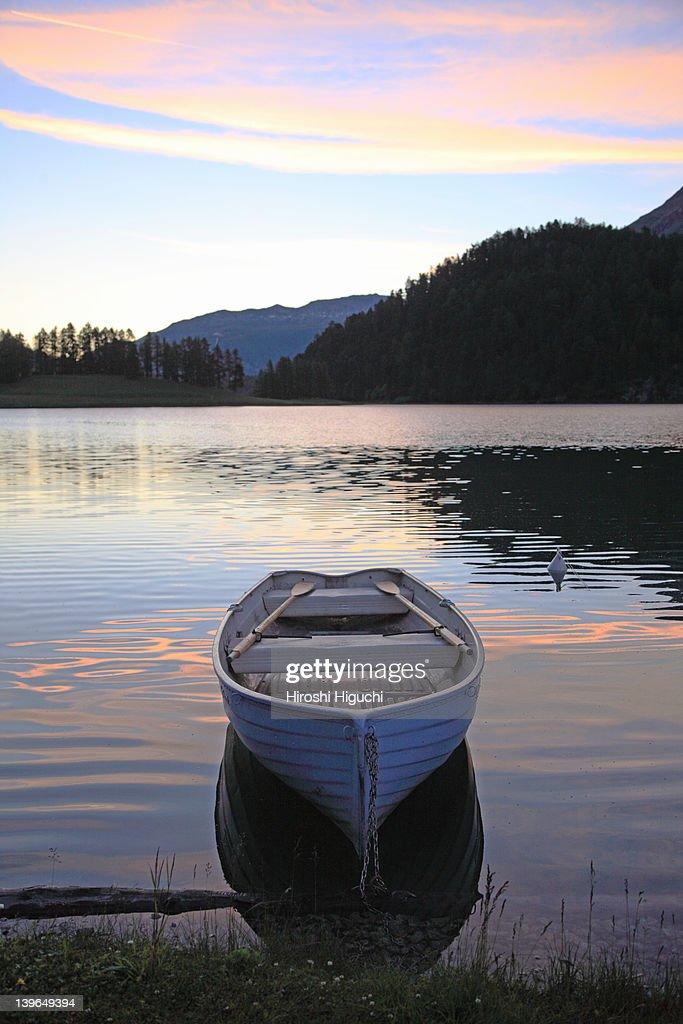 Dawn at Lake Champfèr : Stock Photo