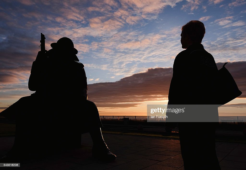 Dawn breaks over the World War One statue of 'Tommy' on June 29, 2016 in Seaham, England. The statue created by artist Ray Lonsdale to commemorate the armistice is officially entitled ELEVEN 'O' ONE, stands 9ft 5in tall, weighs 1.2 tonnes and is built from corteen steel. It represents a World War One soldier who sits with head bowed reflecting on the horrors of the war in the first minute after peace was declared in 1918. The sculpture is also intended to represent Post Traumatic Stress Disorder which many of the returning soldiers endured. This Friday (July 1) marks the anniversary of the start of the Battle of the Somme during World War One which was the largest battle of the war on the Western Front with over a million men wounded or killed. It was one of the bloodiest battles in human history.