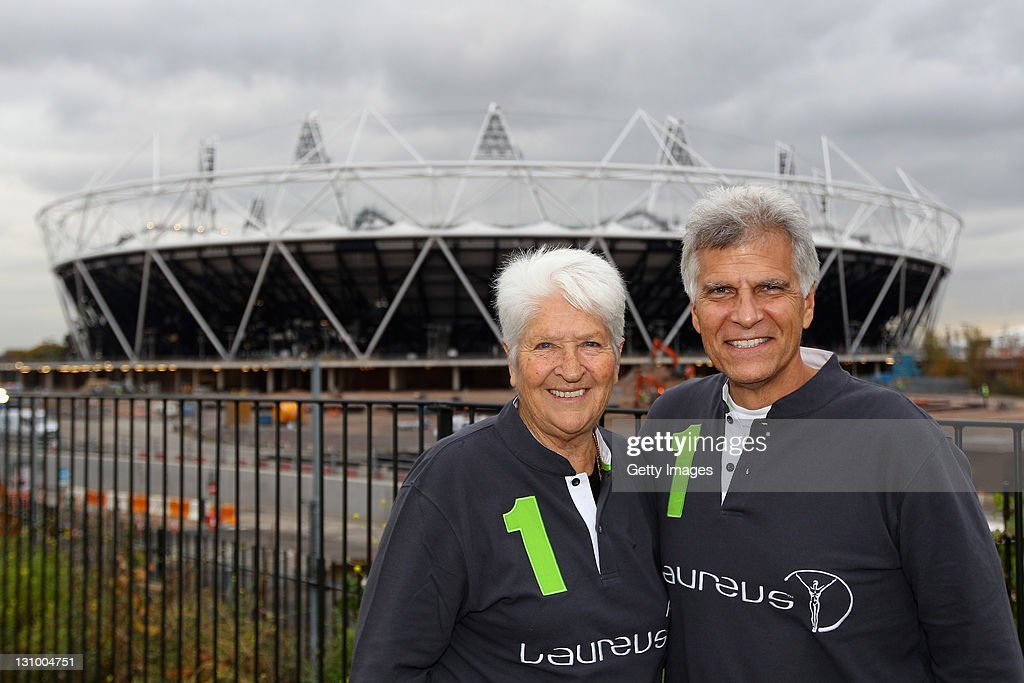 Dawn Fraser and Mark Spitz pose for a picture at the London 2012 Olympic Park during the 2011 Laureus Sport for Good Summit held on October 31, 2011 in London, England.