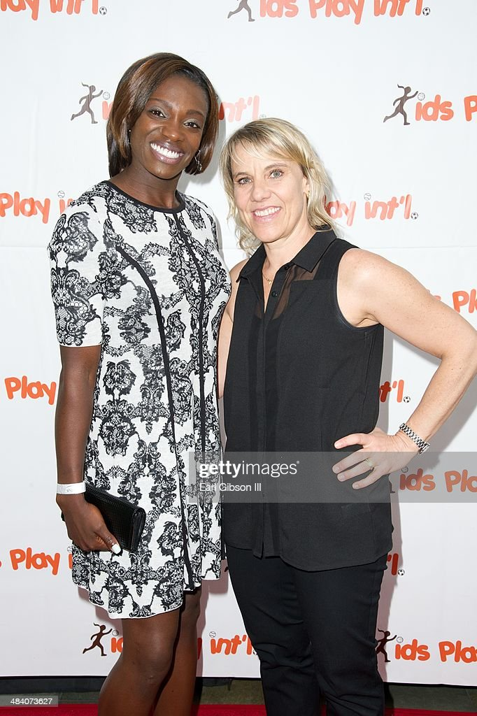 Dawn Harper and Tracy Evans pose for a photo at the 5th Annual 'Cocktails For Kids Play' Fundraiser at Shade Hotel on April 10, 2014 in Manhattan Beach, California.