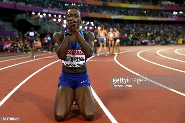 Dawn Harper Nelson of the United States silver celebrates after the Women's 100 metres hurdles final during day nine of the 16th IAAF World Athletics...