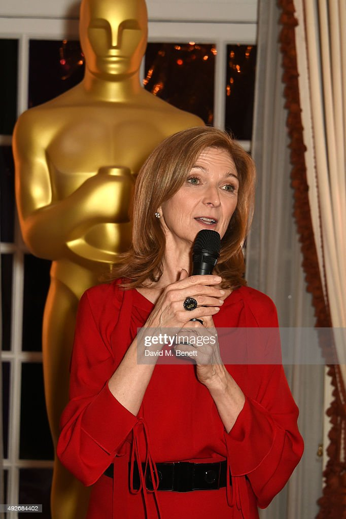 Dawn Hudson CEO of Academy Of Motion Picture Arts and Sciences gives a speech as she attends The Academy Of Motion Pictures Arts Sciences new members...